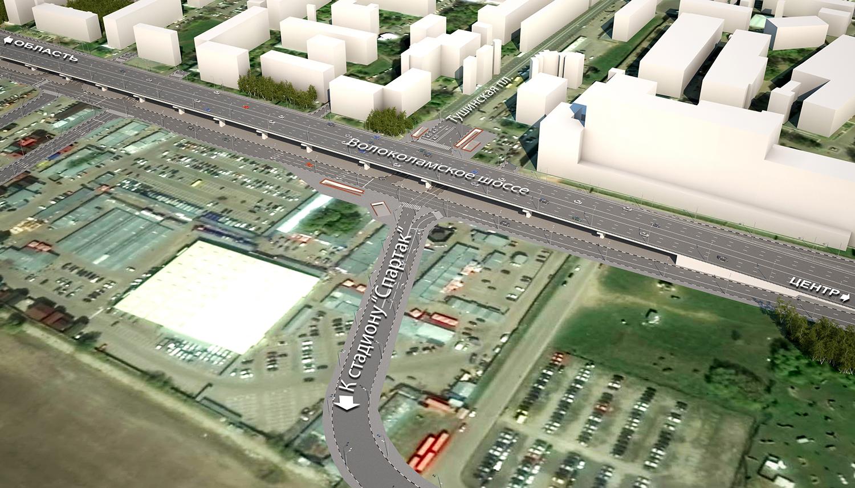 3D модель строительство эстакады около стадиона команды «Спартак» на Волоколамском шоссе