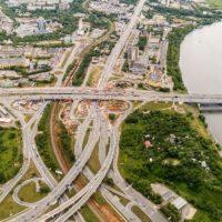 Началось бетонирование опор эстакады развязки на пересечении МКАД с Волоколамским шоссе